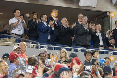 Donald Trump, Lindsey Graham, Melania Trump, Senator Lindsey Graham, TI, John Ratcliffe, Mark Meadows Photo - United States President Donald J. Trump participates in a moment to salute the military during game five of the World Series at Nationals Park in Washington DC on October 27, 2019.  The Washington Nationals and Houston Astros are tied at two games going into tonight's game. Pictured with the president include US Representative John Ratcliffe (Republican of Texas), US Senator David Perdue (Republican of Georgia), US Representative Andy Biggs (Republican of Arizona), US Representative Mark Meadows (Republican of North Carolina), and US Senator Lindsey Graham (Republican of South Carolina). Credit: Chris Kleponis / Pool via CNP/AdMedia