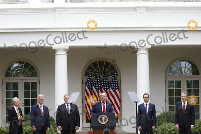 Donald Trump, Larry Kudlow, White House, The White, The National, Robert Lighthizer, Mike Pompeo, Peter Navarro Photo - United States President Donald J. Trump with members of his administration delivers remarks on China in the Rose Garden at the White House in Washington, DC on May 29, 2020.  Pictured from left to right: Peter Navarro, Director of Trade and Industrial Policy and Director of the White House National Trade Council; US National Security Advisor Robert C. O'Brien; US Secretary of State Mike Pompeo; the president; US Secretary of the Treasury Steven T. Mnuchin; Ambassador Robert Lighthizer, US Trade Representative; and Director of the National Economic Council Larry Kudlow.