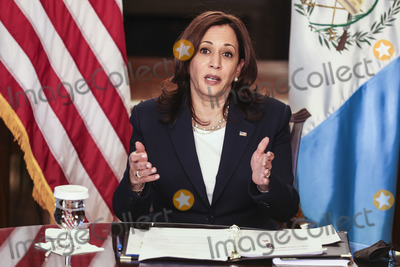 White House, The White, Kamala Harris Photo - United States Vice President Kamala Harris speaks during a virtual bilateral meeting with President Alejandro Giammattei of Guatemala, in the Vice President's Ceremonial Office in the Eisenhower Executive Office Building on the White House campus, about the migration crisis on April 26, 2021, in Washington, DC. Credit: Oliver Contreras / Pool via CNP/AdMedia