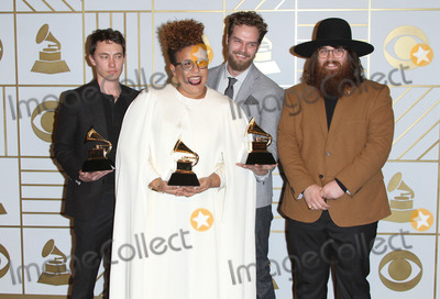Alabama, Sounds, Alabama Shakes, Grammy Awards, Steve Johnson, Brittany Howard Photo - 15 February 2016 - Los Angeles, California - Heath Fogg, Brittany Howard, Steve Johnson, and Zac Cockrell of Alabama Shakes, winners of Best Alternative Music Album for 'Sound & Color' and Best Rock Performance and Best Rock Song for 'Don't Wanna Fight. 58th Annual GRAMMY Awards held at the Staples Center. Photo Credit: AdMedia