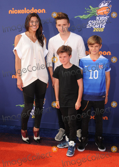 Brooklyn Beckham, Cruz Beckham, Romeo Beckham, Hope Solo, Lucila Solá Photo - 16 July 2015 - Westwood, California - Hope Solo, Romeo Beckham, Brooklyn Beckham, Cruz Beckham. Nickelodeon Kids Choice Sports Awards 2015 held at the UCLA Pauley Pavilion. Photo Credit: Byron Purvis/AdMedia