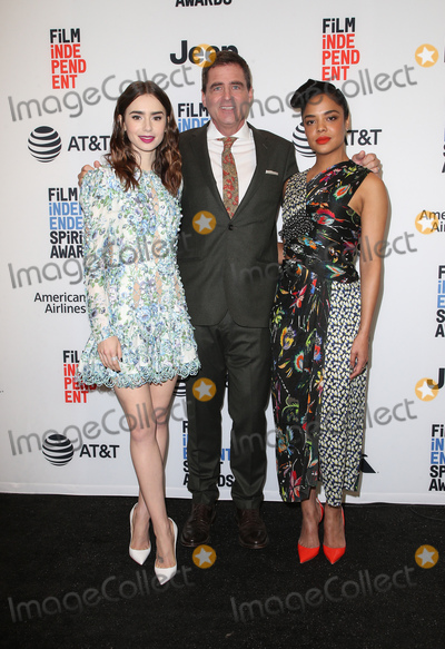 Josh Welsh, Lily Collins, Tessa Thompson Photo - 21 November 2017 -  West Hollywood, California - Lily Collins, President of Film Independent, Josh Welsh, Tessa Thompson. Film Independent 2018 Spirit Awards Press Conference held at The Jeremy Hotel. Photo Credit: Faye Sadou/AdMedia