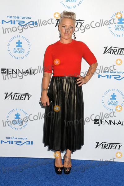 Alecia Moore, Pink, Pink (Alecia Moore) Photo - 8 October 2015 - Santa Monica, California - Pink, Alecia Moore. Autism Speaks To Los Angeles Celebrity Chef Gala held at Barker Hangar. Photo Credit: Byron Purvis/AdMedia