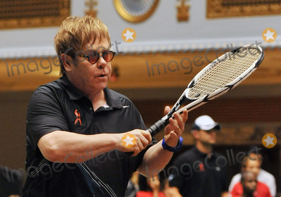 "Elton John, Sir Elton John, Andy Roddick, Martina Navratilova, Amelie Mauresmo, Coco, Jan-Michael Gambil, Jan-Michael Gambill, Coco Vandeweghe Photo - 27 October 2011 - Cleveland, OH - Musician SIR ELTON JOHN brought his annual ""World TeamTennis Smash Hits"" charity night of tennis to Cleveland for the first time in the events 19-year history. Tennis greats Andy Roddick, Martina Navratilova, John McEnroe, Amelie Mauresmo, Coco Vandeweghe, Jan-Michael Gambill, and Cleveland area native Lauren Davisjoined other top players for WTT Smash Hits presented held at Public Hall. Photo Credit: Jason L Nelson/AdMedia"