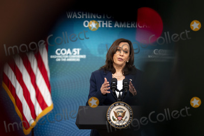 Kamala Harris Photo - Vice President Kamala Harris delivers remarks during the 51st Annual Washington Conference on the Americas in the South Court Auditorium on Tuesday, May 4, 2021 in Washington, D.C. The conference features remarks by senior U.S. government officials and leaders, offering an early opportunity for participants to hear directly from the new Biden administration on its hemispheric policy agenda.   Credit: Leigh Vogel / Pool via CNP/AdMedia