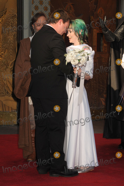 """TCL Chinese Theatre, Andrew Porters, Caroline Ritter Photo - 17 December 2015 - Hollywood, California - Andrew Porters, Caroline Ritter. Fans Get Married With """"Star Wars"""" Themed Wedding held at the TCL Chinese Theatre IMAX. Photo Credit: Byron Purvis/AdMedia"""