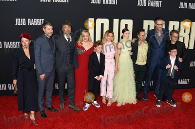 "Alfie Allen, JoJo, Sam Rockwell, Scarlett Johansson, Stephen Merchant, Taika Waititi, Rebel Wilson, Carthew Neal, Archie Yates, Archie Yate, Chelsea Winstanley Photo - 15 October 2019 - Los Angeles, California - Chelsea Winstanley, Carthew Neal, Taika Waititi, Rebel Wilson, Roman Griffin Davis, Scarlett Johansson, Thomasin McKenzie, Sam Rockwell, Stephen Merchant, Archie Yates, Alfie Allen . Fox Searchlight ""Jojo Rabbit"" Los Angeles Premiere held at American Legion Post 43. Photo Credit: Billy Bennight/AdMedia"