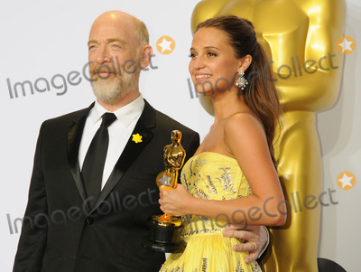 J K Simmons, J. K. Simmons, J.K. Simmons, Alicia Vikander, J.K Simmons Photo - 28 February 2016 - Hollywood, California - J. K. Simmons, Alicia Vikander. 88th Annual Academy Awards presented by the Academy of Motion Picture Arts and Sciences held at Hollywood & Highland Center. Photo Credit: Byron Purvis/AdMedia