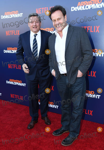 "Arrested Development, Mitchell Hurwitz, Ted Sarandos Photo - 17 May 2018 - Hollywood, California - Ted Sarandos, Mitchell Hurwitz. Netflix's ""Arrested Development"" Season 5 Premiere held at Netflix FYSee Theater. Photo Credit: Birdie Thompson/AdMedia"