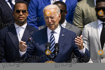 Photo - United States President Joe Biden makes remarks welcoming the 2021 the Super Bowl LV (Super Bowl 55) Champion Tampa Bay Buccaneers to the White House in Washington, D.C. on July 20, 2021.  The event marked the first visit to the White House by the reigning Super Bowl champions in four years.Credit: Samuel Corum / CNP/AdMedia