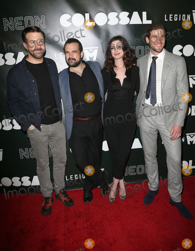 "Anne Hathaway, Jason Sudeikis, Nacho Vigalondo, Austin Stowell, Ann Hathaway Photo - 04 April 2017 - Los Angeles, California - Jason Sudeikis, Nacho Vigalondo, Anne Hathaway, Austin Stowell. ""Colossal"" - Los Angeles Premiere held at Vista Theatre. Photo Credit: AdMedia"