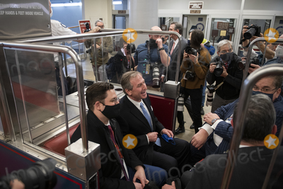 Train Photo - Defense lawyer for former President Donald J. Trump Michael van der Veen celebrates in a Senate subway train car, after the U.S. Senate voted 57-43 to acquit former President Donald J. Trump on an impeachment charge of inciting the attack on the U.S. Capitol on January 6, 202, at the U.S. Capitol in Washington, DC, Saturday, February 13, 2021. Credit: Rod Lamkey / CNP/AdMedia