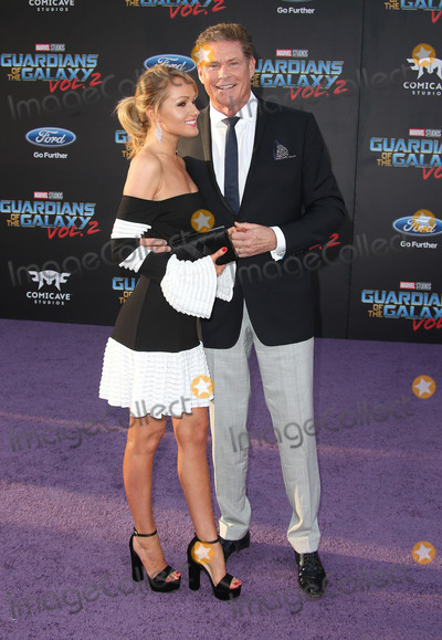 "David Hasselhoff, Hayley Roberts Photo - 19 April 2017 - Hollywood, California - Hayley Roberts, David Hasselhoff. Premiere Of Disney And Marvel's ""Guardians Of The Galaxy Vol. 2"" held at the Dolby Theatre. Photo Credit: AdMedia"