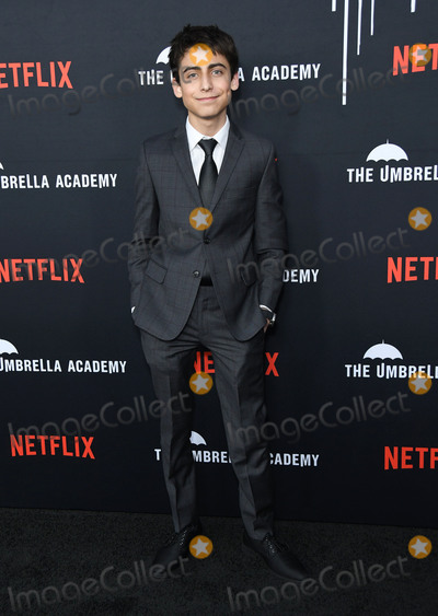 "Aidan Gallagher, Gallagher Photo - 12 February 2019 - Hollywood, California - Aidan Gallagher. Netflix's ""The Umbrella Academy"" Los Angeles Premiere held at the Arclight Hollywood. Photo Credit: Birdie Thompson/AdMedia"