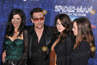 "Ali Hewson, Bono, Eve, Eve Hewson, Jordan Hewson, U 2, U2, Christopher Smith, Spider Man, Spider-Man, Spiderman, The Darkness, Bono, U2 Photo - 14 June 2011 - New York City, NY - Ali Hewson, Bono of U2, Eve Hewson and Jordan Hewson. ""Spider-Man Turn Off The Dark"" Broadway Opening Night held at Foxwoods Theatre. Photo Credit: Christopher Smith/AdMedia"