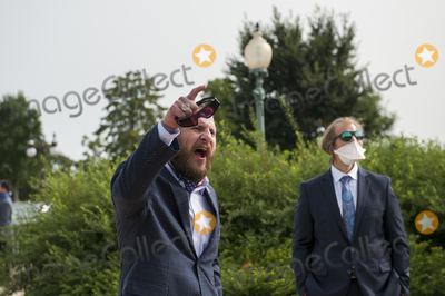 The Used Photo - A man shouts at GOP members of Congress as they pass by following a press conference regarding legislation to assist veterans exposed to burn pits, outside the US Capitol in Washington, DC., Tuesday, September 15, 2020. Credit: Rod Lamkey / CNP/AdMedia
