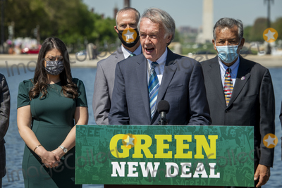 Ed Markey, The Used Photo - United States Senator Ed Markey (Democrat of Massachusetts) offers remarks during a press conference to re-introduce the Green New Deal in front of the US Capitol in Washington, DC, Tuesday, April 20, 2021. Credit: Rod Lamkey / CNP