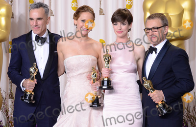 Anne Hathaway, Daniel Day-Lewis, Jennifer Lawrence, Ann Hathaway, Christophe Honoré Photo - 24 February 2013 - Hollywood, California - Daniel Day-Lewis, Jennifer Lawrence, Anne Hathaway, Christoph Wa. 85th Annual Academy Awards held at the Dolby Theatre at Hollywood & Highland Center. Photo Credit: Russ Elliot/AdMedia