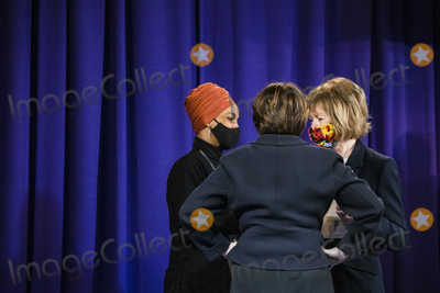 George Floyd, Ministry, Warrant, Amy Klobuchar, Police Officer Photo - From left to right: United States Representative Ilhan Omar (Democrat of Minnesota), US Senator Amy Klobuchar (Democrat of Minnesota), and United States Senator Tina Smith (Democrat of Minnesota), talk before Daunte Wrights funeral at Shiloh Temple International Ministries for the funeral of Daunte Wright in Minneapolis, Minn., U.S., on Thursday, April 22, 2021. Wright was shot by police officer Kimberly Ann Potter who claims she thought she was deploying a taser when Wright attempted to flee as police attempted to place him under arrest for an outstanding warrant during a traffic stop.Credit: Samuel Corum / CNP/AdMedia