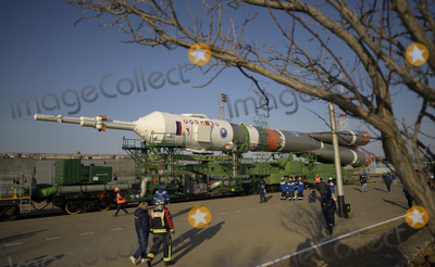 Train Photo - The Soyuz rocket is rolled out by train to the launch pad at Site 31, Tuesday, April 6, 2021, at the Baikonur Cosmodrome in Kazakhstan. Expedition 65 NASA astronaut Mark Vande Hei, Roscosmos cosmonauts Pyotr Dubrov and Oleg Novitskiy are scheduled to launch aboard their Soyuz MS-18 spacecraft on April 9.  