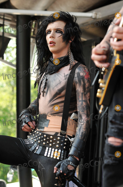 """Photo - 20 July 2011 - Cleveland, OH - Vocalist ANDREW """"ANDY SIX"""" BIERSACK of the band BLACK VEIL BRIDES performs on a stop of the Vans Warped Tour 2011 held at the Blossom Music Center.  Photo Credit: Jason L Nelson/AdMedia"""
