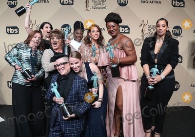 Beth Fowler, Dascha Polanco, Danielle Brooks, Yael Stone, Madeline Brewer, Selenis Leyva, Emma Myles, Annie Golden, Lin Tucci, Abigail Savage Photo - 29 January 2017 - Los Angeles, California - Danielle Brooks, Selenis Leyva, Adrienne C. Moore, Yael Stone, Madeline Brewer, Abigail Savage, Annie Golden, Emma Myles, Lin Tucci, Beth Fowler, Dascha Polanco, Lea DeLaria. 23rd Annual Screen Actors Guild Awards held at The Shrine Expo Hall. Photo Credit: F. Sadou/AdMedia
