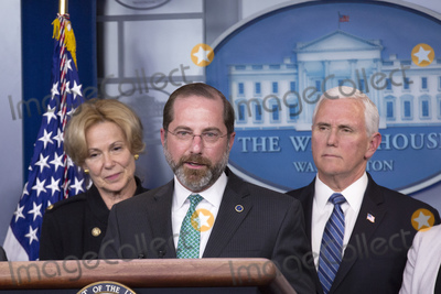Mike Pence, White House, The White, Alex Azar Photo - United States Secretary of Health and Human Services (HHS) Alex Azar, center, joined by members of the Coronavirus Task Force, speaks to members of the media during a news conference in the James S. Brady Press Briefing Room of the White House in Washington D.C., U.S., on Monday, March 2, 2020.Credit: Stefani Reynolds / CNP/AdMedia