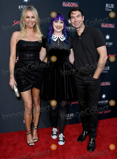 """Jerry O'Connell, Rebecca Romijn, Chelsea Stardust Photo - 23 August 2019 - Hollywood, California - Rebecca Romijn, Chelsea Stardust, Jerry O'Connell. """"Satanic Panic"""" Los Angeles Premiere held at The Egyptian Theatre. Photo Credit: Birdie Thompson/AdMedia"""