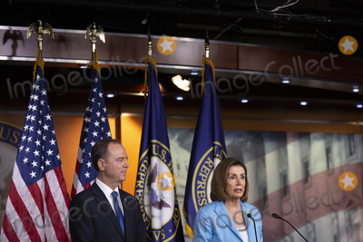 Nancy Pelosi, Representative Nancy Pelosi, The Unit, Adam Schiff Photo - Speaker of the United States House of Representatives Nancy Pelosi (Democrat of California), joined by United States Representative Adam Schiff (Democrat of California), speak at a press conference on Capitol Hill in Washington D.C., U.S. on October 2, 2019. Photo Credit: Stefani Reynolds/CNP/AdMedia