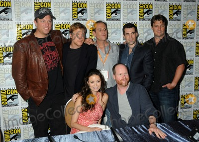 "Adam Baldwin, Alan Tudyk, Joss Whedon, Sean Maher, Summer Glau, Nathan Fillion, Tim Minear Photo - 13 July 2012 - San Diego, California - Adam Baldwin, Alan Tudyk, Summer Glau, Tim Minear, Joss Whedon, Sean Maher, Nathan Fillion. ""Firefly"" Press Room at Comic Con 2012 held at the Bayfront Hilton Hotel. Photo Credit: Byron Purvis/AdMedia"