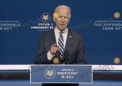 Joe Biden, Queen Photo - In this image from the Biden Presidential Transition video feed, United States President-elect Joe Biden makes a statement on the Affordable Care Act at the Queen Theatre in Wilmington, Delaware on Friday, November 6, 2020.