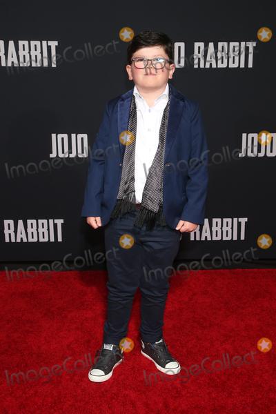 "Archie Yates, JoJo, Archie Yate Photo - 15 October 2019 - Los Angeles, California - Archie Yates. Premiere Of Fox Searchlights' ""Jojo Rabbit"" held at Post 43. Photo Credit: FayeS/AdMedia"