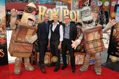 """Travis Knight, Anthony Stacchi, Graham Annable Photo - 21 September 2014 - Universal City, California - Anthony Stacchi, Travis Knight, Graham Annable. """"The Boxtrolls"""" Los Angeles Premiere held at Universal CityWalk. Photo Credit: Byron Purvis/AdMedia"""