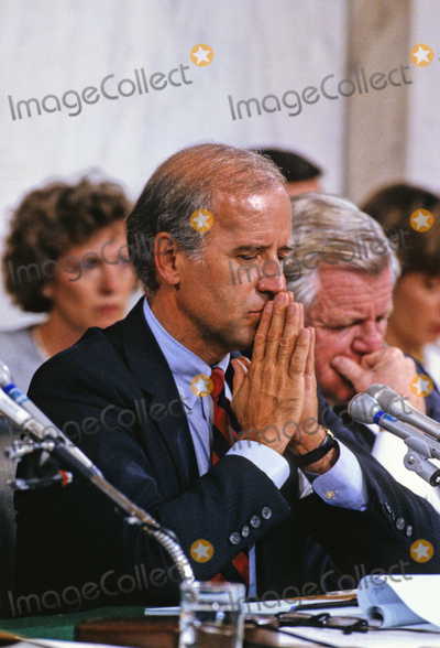 Supreme Court, George H. W. Bush, George H.W. Bush, Joseph Biden, President George H. W. Bush, President George H.W. Bush, Replacements, Senator Joseph Biden, Supremes, The Used, Anita Hill, CLARENCE THOMAS Photo - United States Senator Joseph Biden (Democrat of Delaware), Chairman, US Senate Judiciary Committee, makes his opening statement prior to hearing the testimony of Professor Anita Hill during the hearings to confirm Judge Clarence Thomas as Associate Justice of the US Supreme Court in the US Senate Caucus Room in Washington, DC on October 10, 1991.  Thomas was nominated for the position by US President George H.W. Bush on July 1, 1991 to replace retiring Justice Thurgood Marshall.