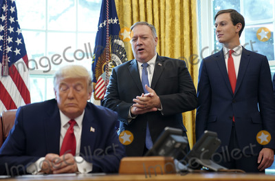 Melania Trump, TI, JARED KUSHNER, White House, The White, President Trump, Mike Pompeo Photo - United States Secretary of State Mike Pompeo, center, speaks as US President Donald J. Trump, left, and Jared Kushner, Assistant to the President and Senior Advisor, right, listen during a conference call with leaders of Israel and Sudan about a Sudan-Israel peace agreement at the White House in Washington, DC, on Friday, October 23, 2020. President Trump announced that Israel and Sudan will start to normalize ties.  
