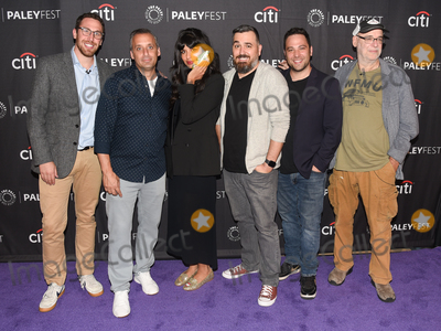 """Ben Newmark, Jameela Jamil, Joe Gatto, Dan Newmark, Brian Quinn, Andy Breckman, Joe Corré Photo - 13 September 2019 - Beverly Hills, California - (L-R) Dan Newmark, Joe Gatto, Jameela Jamil, Brian Quinn, Ben Newmark and Andy Breckman. """"The Misery Index"""" at The Paley Center For Media's 13th Annual PaleyFest Fall TV Previews - TBS. Photo Credit: Billy Bennight/AdMedia"""