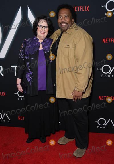 "Photo - 18 March 2019 - Los Angeles, California - Phyllis Smith, Leslie David Baker. Netflix's ""The OA Part II"" Los Angeles Premiere held at LACMA. Photo Credit: Birdie Thompson/AdMedia"