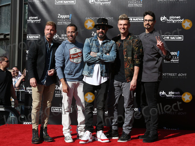 Backstreet Boys, Brian Littrell, Howie Dorough, Kevin Richardson, Nick Carter, Backstreet  Boys Photo - 12 April 2019 - Las Vegas, NV - BackStreet Boys, Brian Littrell, AJ McLean, Howie Dorough, Nick Carter, Kevin Richardson. Backstreet Boys Hand print ceremony at Planet Hollywood Resort and Casino. Photo Credit: MJT/AdMedia