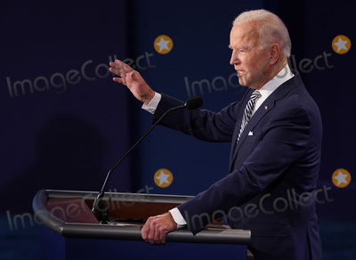 Presidential Campaign, Donald Trump, Joe Biden Photo - Democratic presidential nominee Joe Biden speaks during the first of three scheduled 90 minute presidential debates with President Donald Trump, Cleveland, Ohio, on Tuesday, September 29, 2020. Credit: Kevin Dietsch / Pool via CNP/AdMedia