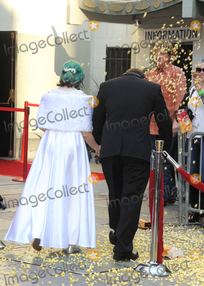 """TCL Chinese Theatre, Andrew Porters, Caroline Ritter Photo - 17 December 2015 - Hollywood, California - Caroline Ritter, Andrew Porters. Fans Get Married With """"Star Wars"""" Themed Wedding held at the TCL Chinese Theatre IMAX. Photo Credit: Byron Purvis/AdMedia"""