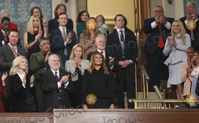 Donald Trump, Melania Trump, US Congress Photo - First lady Melania Trump, her guests and members of the Trump family arrive in the first lady's box in the House chamber to attend U.S. President Donald Trump's State of the Union address to a joint session of the U.S. Congress in the House Chamber of the U.S. Capitol in Washington, U.S. February 4, 2020. Credit: Leah Millis / Pool via CNP/AdMedia