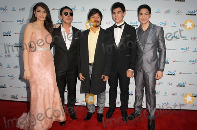 """Manny Pacquiao, Marvin Agustin, Derrick Monasterio, Rhian Ramos, Alden Richards Photo - 9 May 2012 - Hollywood, California - Rhian Ramos, Marvin Agustin, Manny Pacquiao, Derrick Monasterio, Alden Richards. Screening Of Freestyle Releasing's """"The Road"""" Held At The Arclight Theatres. Photo Credit: Kevan Brooks/AdMedia"""