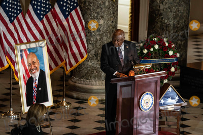 James Clyburn, The Ceremonies, Alcee Hastings Photo - United States House Majority Whip James Clyburn (Democrat of South Carolina) speaks at the ceremony celebrating the life of the late US Representative Alcee Hastings (Democrat of Florida) in Statuary Hall of the Capitol in Washington DC on April 21st, 2021.Credit: Anna Moneymaker / Pool via CNP/AdMedia