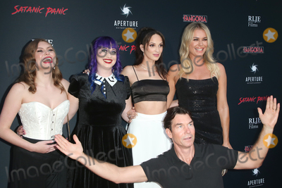 """Jerry O'Connell, RUBY MODINE, Hayley Griffith, Chelsea Stardust, Rebbeca Romijn Photo - 23 August 2019 - Hollywood, California - Hayley Griffith, Chelsea Stardust, Ruby Modine, Rebbeca Romijn, Jerry O'Connell. Premiere Of """"Satanic Panic"""" held at The Egyptian Theatre. Photo Credit: FSadou/AdMedia"""