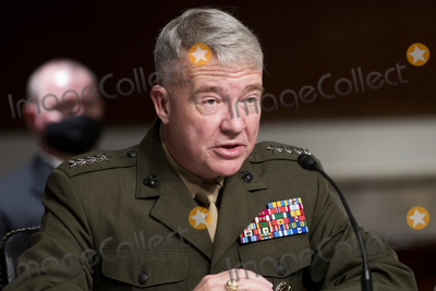 Photo - General Kenneth McKenzie, Commander, United States Central Command, appears before a Senate Committee on Armed Services hearing to examine United States Central Command and United States Africa Command in review of the Defense Authorization Request for fiscal year 2022 and the Future Years Defense Program, in the Dirksen Senate Office Building in Washington, DC, Thursday, April, 22, 2021. Credit: Rod Lamkey / CNP/AdMedia