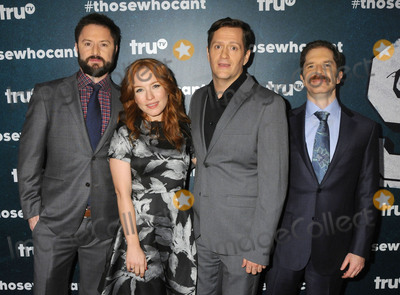 """MARIA THAYER, Ben Roy, Andrew Orvedahl, Adam Cayton-Holland Photo - 28 January 2016 - Los Angeles, California - Adam Cayton-Holland, Maria Thayer, Ben Roy, Andrew Orvedahl. """"Those Who Can't"""" Series Premiere held at The Wilshire Ebell Theatre. Photo Credit: Byron Purvis/AdMedia"""