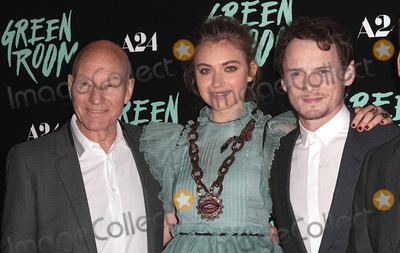 "Anton Yelchin, Imogen Poots, Patrick Stewart Photo - 19 June 2016 - Los Angeles, California - Star Trek Actor Anton Yelchin Killed at 27 in Freak Car Accident. Yelchin was due to meet friends for a rehearsal. After not hearing from him for hours, his friends went to his home in Studio City at 1 a.m. and found Yelchin pinned between his car and a brick wall. His driveway is on an incline and his car was found still running and in neutral. File Photo: 13 April 2016 - Los Angeles, California - Patrick Stewart, Imogen Poots, Anton Yelchin. ""Green Room"" Los Angeles Premiere held at  Arclight Hollywood. Photo Credit: Adam Orchon/AdMedia"