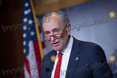 Chuck Schumer, The Unit Photo - United States Senate Minority Leader Chuck Schumer (Democrat of New York) speaks during a news conference at the United States Capitol in Washington D.C., U.S. on Wednesday, March 25, 2020.  The Senate passed a two trillion dollar Coronavirus Stimulus Package after days of delays and negotiations.  Credit: Stefani Reynolds / CNP/AdMedia