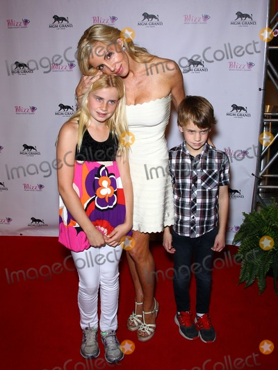 Camille Grammer Photo - 14 January 2012 - Las Vegas, Nevada - Camille Grammer, daughter Mason and son Jude.  The Real Housewives of Beverly Hills walk the red carpet in celebration of the grand opening of the newest Blizz Frozen Yogurt at the MGM Grand  Resort Hotel and Casino.  Photo Credit: MJT/AdMedia