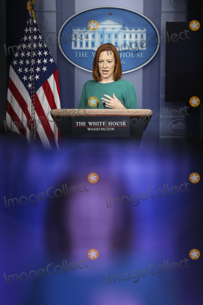 White House, The White Photo - White House Press Secretary Jen Psaki talks to reporters during the daily press briefing in the Brady Press Briefing Room of the White House on Tuesday, April 6, 2021 in Washington, DC.Credit: Oliver Contreras / Pool via CNP/AdMedia